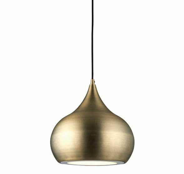 Brosnan curved LED Soft Matt Antique Brass Effect Pendant
